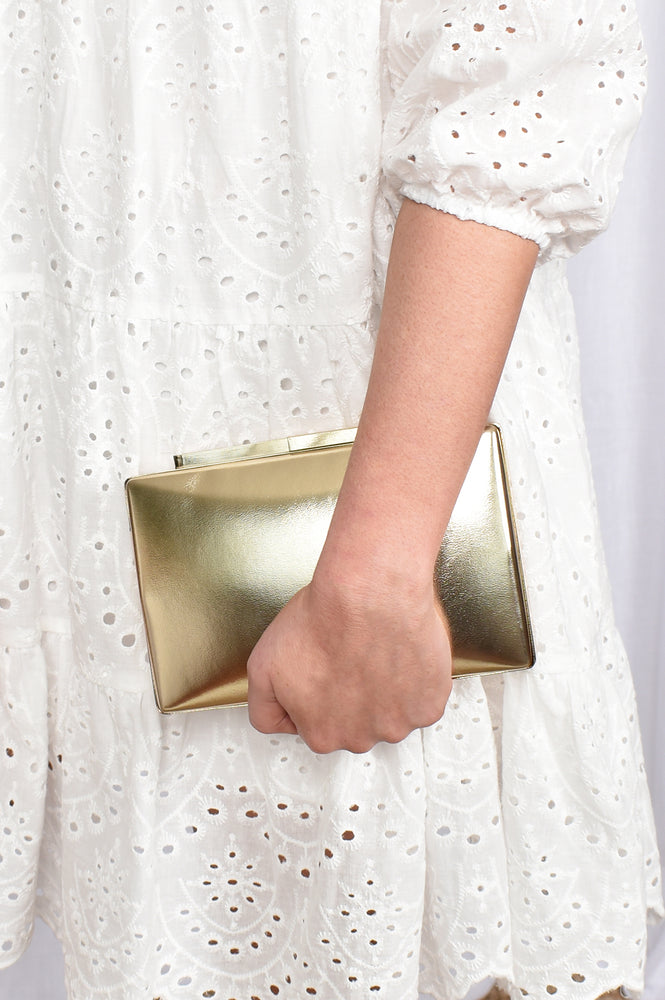 Metallic Structured Clutch (Rose)