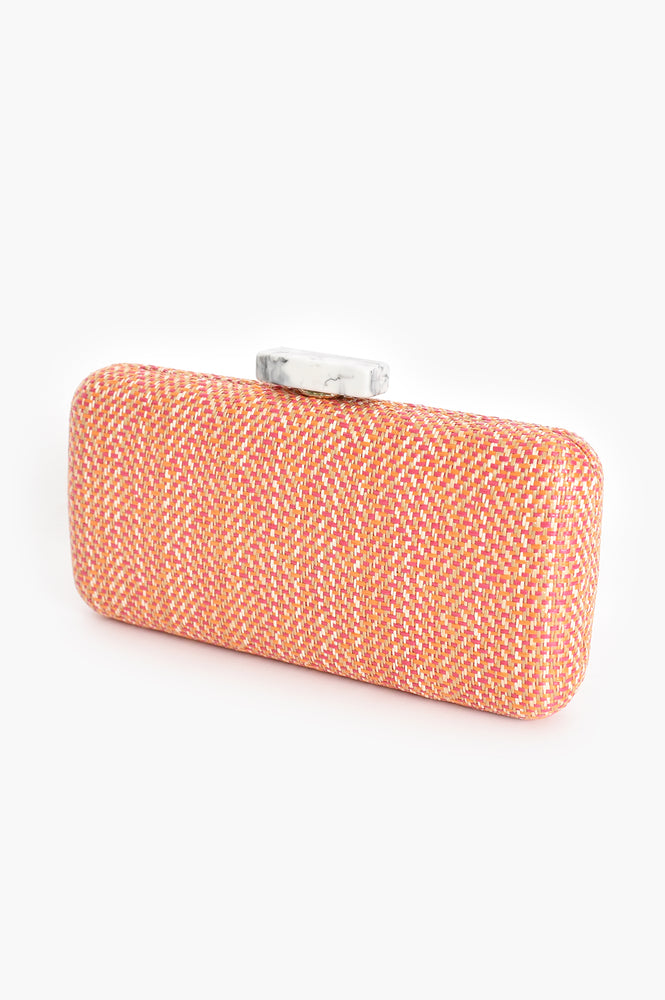 Resin Clasp Weave Structured Clutch (Pink)