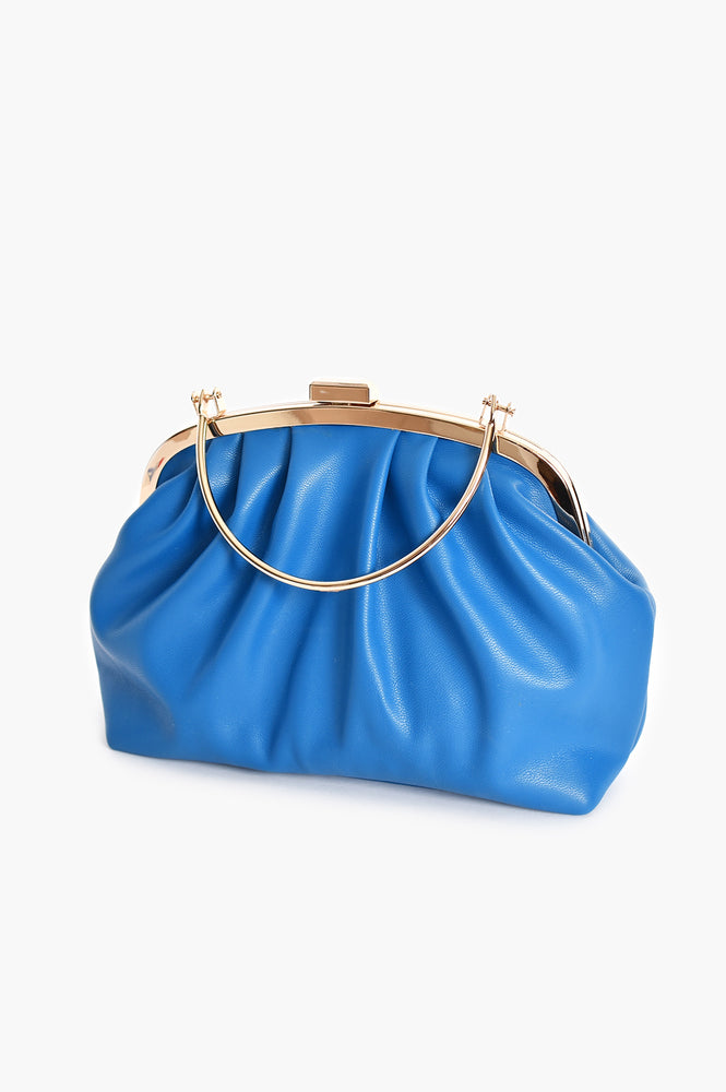 Metal Frame Curved Pleat Clutch (Blue)