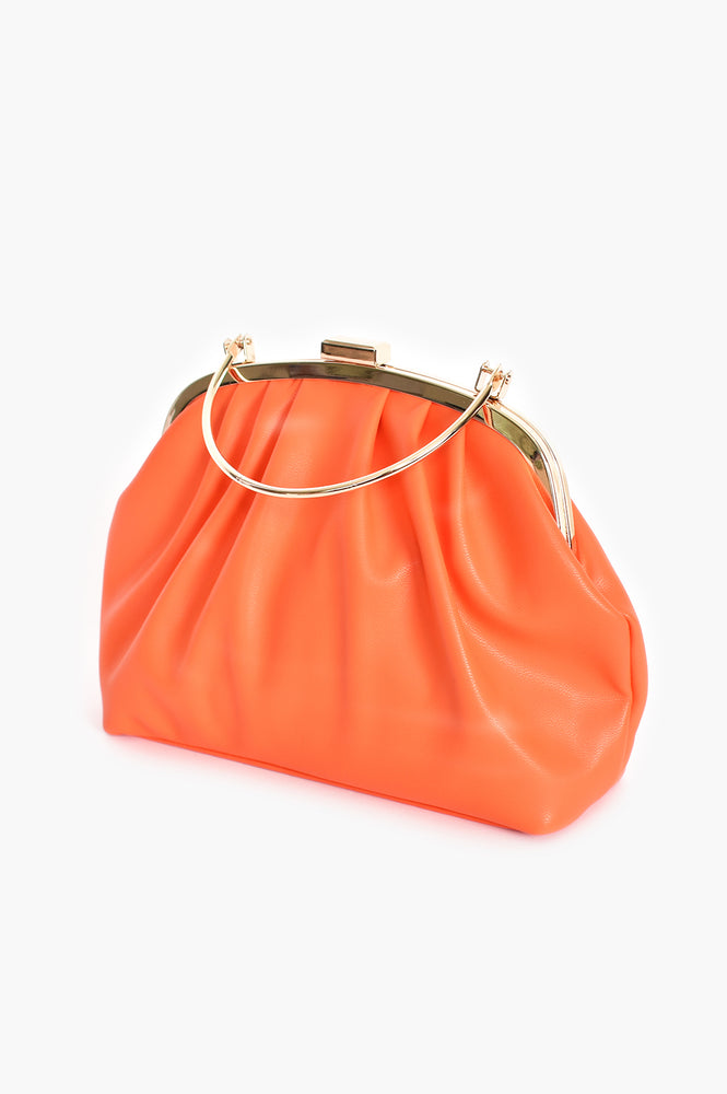 Metal Frame Curved Pleat Clutch (Orange)