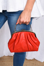 Metal Frame Curved Pleat Clutch (Red)