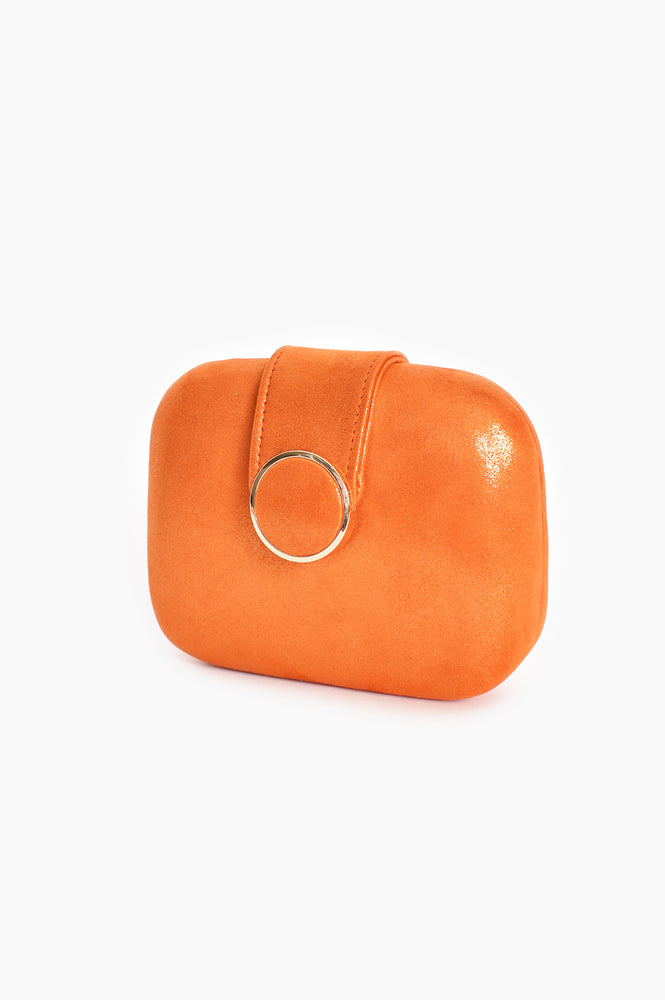 Circle Clasp Structured Clutch (Orange)