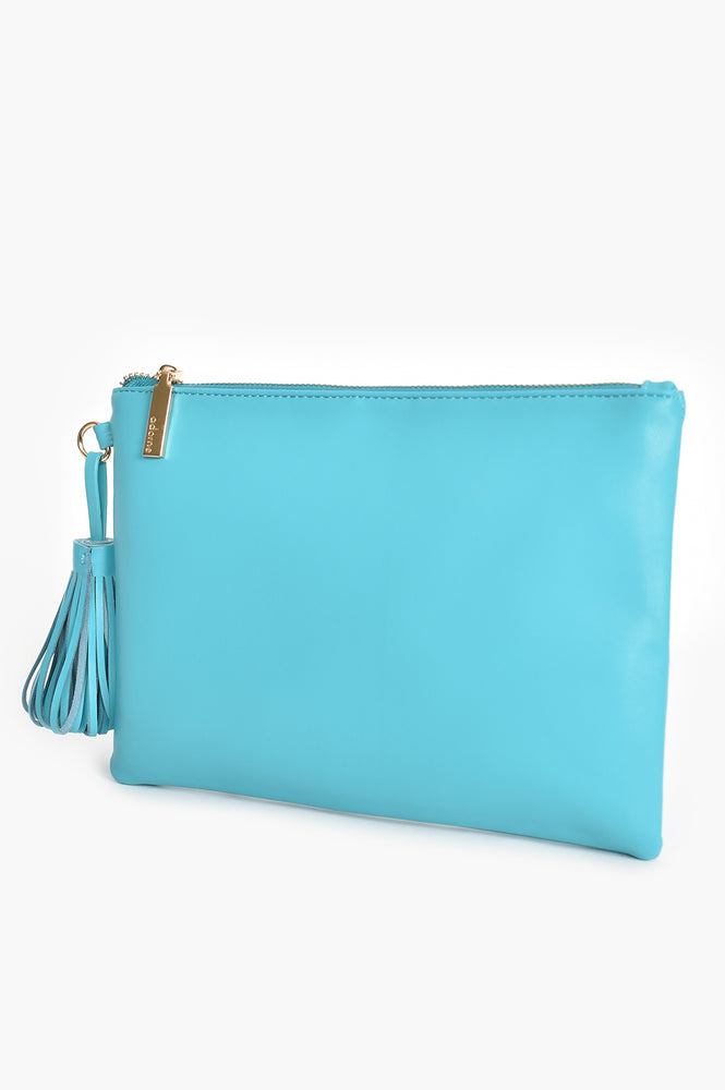 Vegan Leather Large Pouch Fan Tassel (Teal)