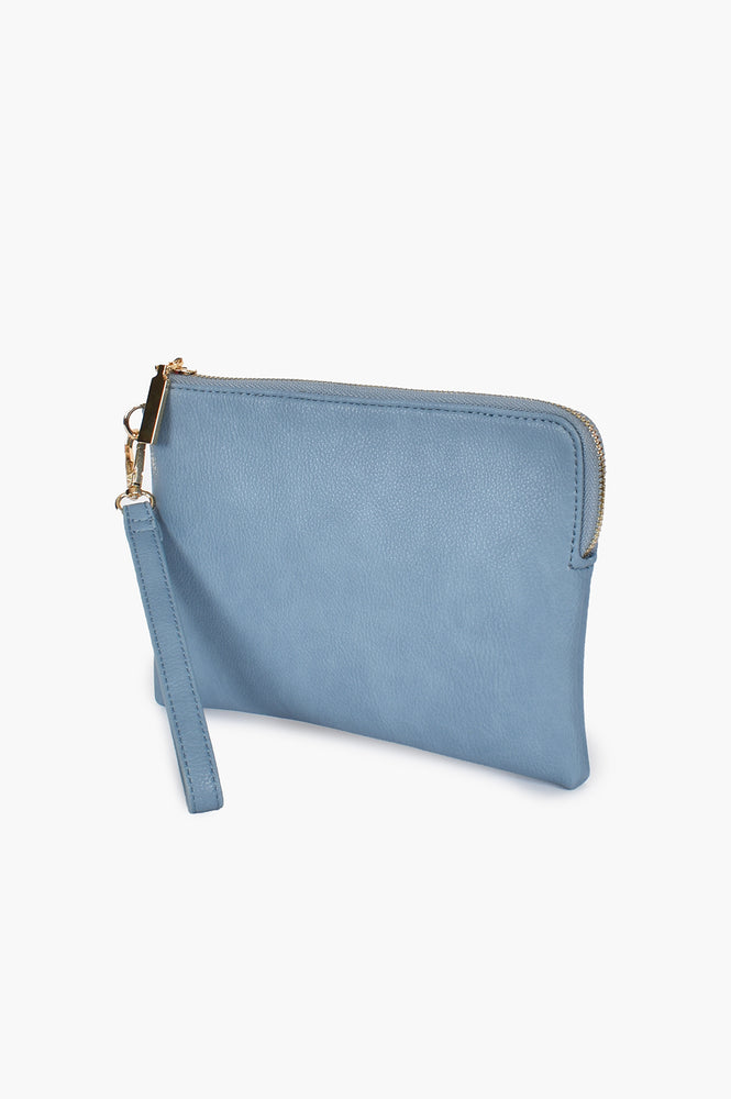 Becca Vegan Leather Corner Zip Pouch (Blue)