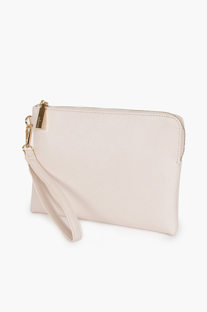 Becca Vegan Leather Corner Zip Pouch (Cream)