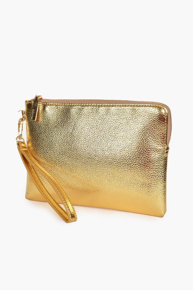 Becca Vegan Leather Corner Zip Pouch (Gold)