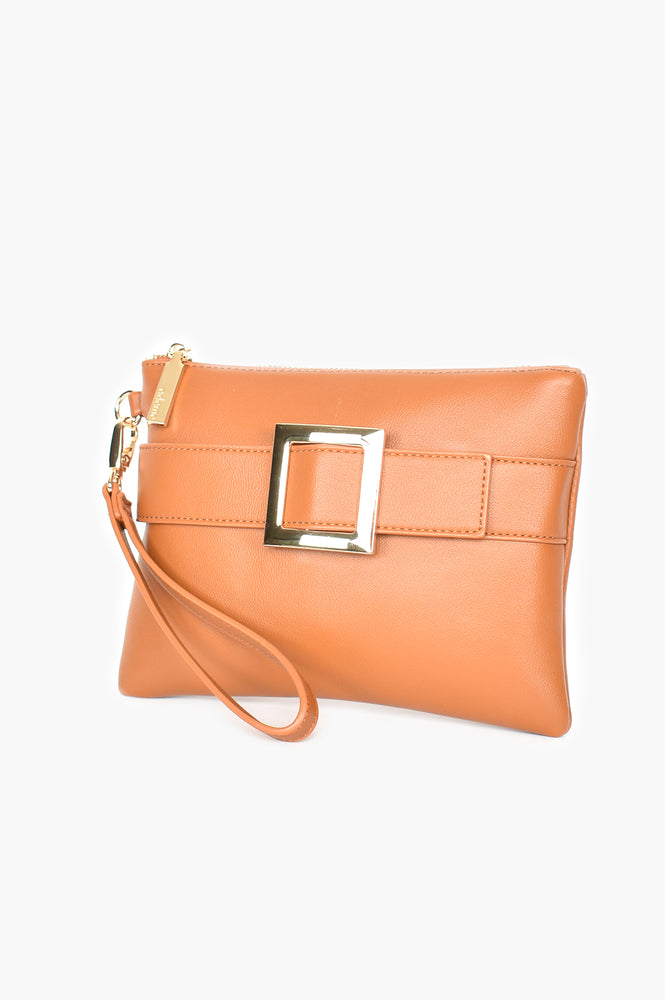 Buckle Front Zip Top Pouch (Tan/Gold)