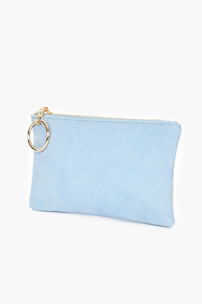 Alecia Ring Faux Suede Pouch (Blue)