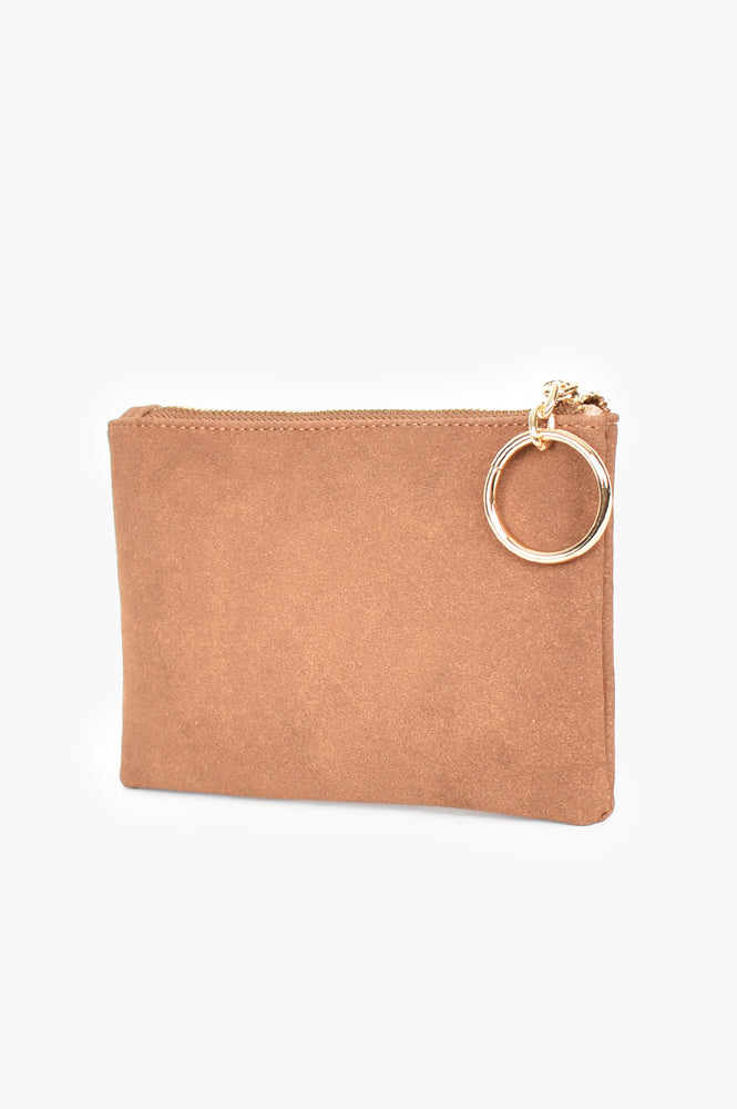 Alecia Ring Faux Suede Pouch (Chocolate)