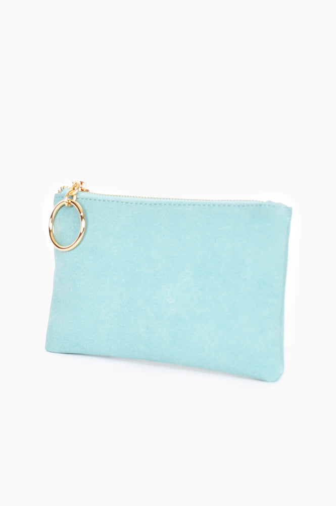 Alecia Ring Faux Suede Pouch (Teal)