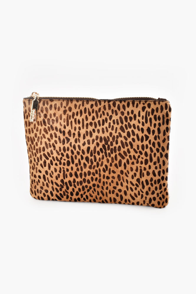 Hide Front Vegan Suede Back Coin Purse (Cheetah/Chocolate)