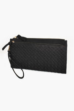 Vegan Suede Weave Wallet (Black)