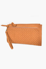 Vegan Suede Weave Wallet (Tan)