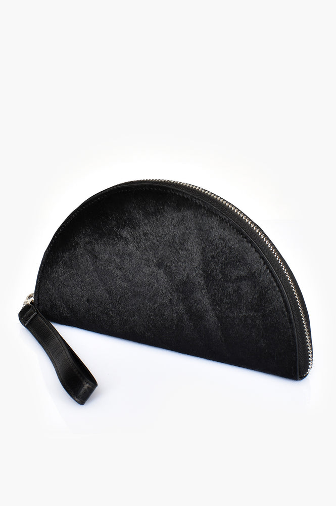 Hide Front Half Circle Wallet (Black)