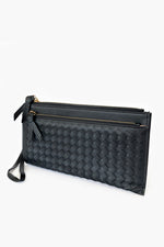 Double Zip Weave Wallet (Black)