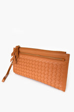Double Zip Weave Wallet (Tan)