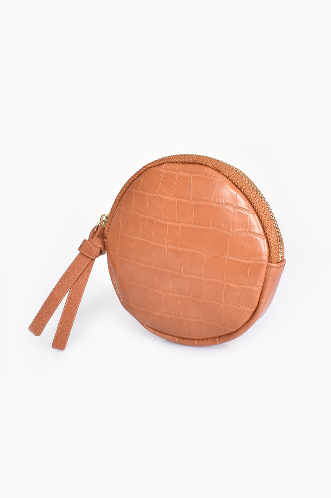 Croc Faux Suede Tab Round Purse (Tan)