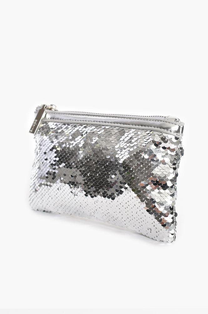 Sequin Trim Purse (Silver)