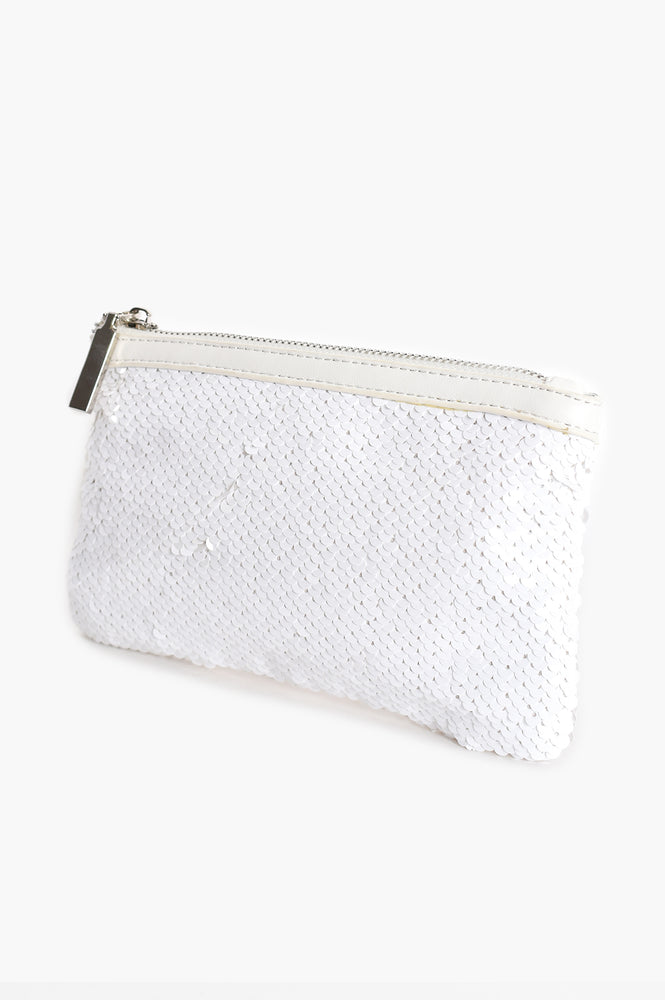 Sequin Trim Purse (White)