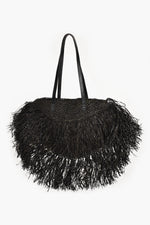 Long Fringe Raffia Tote (Black)