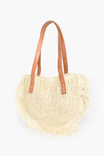 Raffia Curved Fringe Basket Leather Handles (Natural)