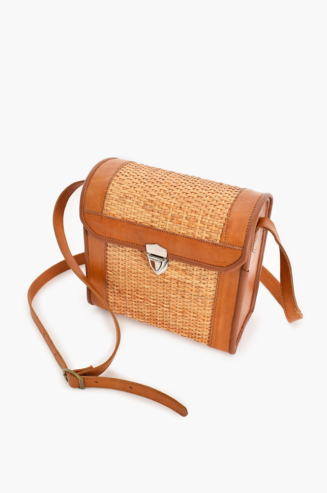 Rattan Leather Trim Buckle Front Cross Body Bag (Natural)