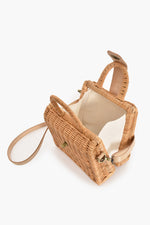 Wicker and Leather Flap Over Small Bag (Natural/Nude)