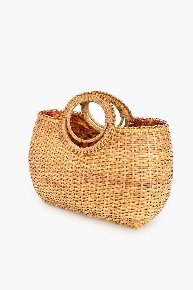 Wicker Small Circle Handle Basket (Natural)
