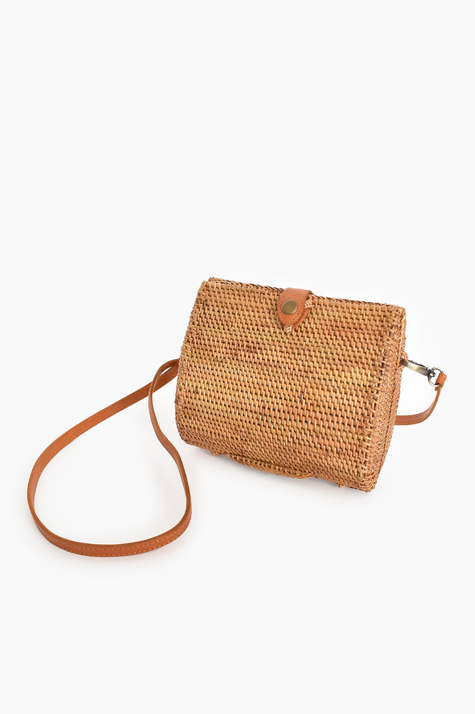 Rattan Clutch with Leather Strap (Natural/Tan)