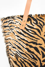 On Safari Frayed Edge Tote (Tan/Black)