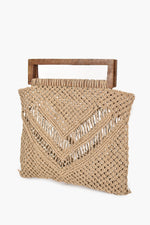Crochet String Rectangle Handle Bag (Natural)