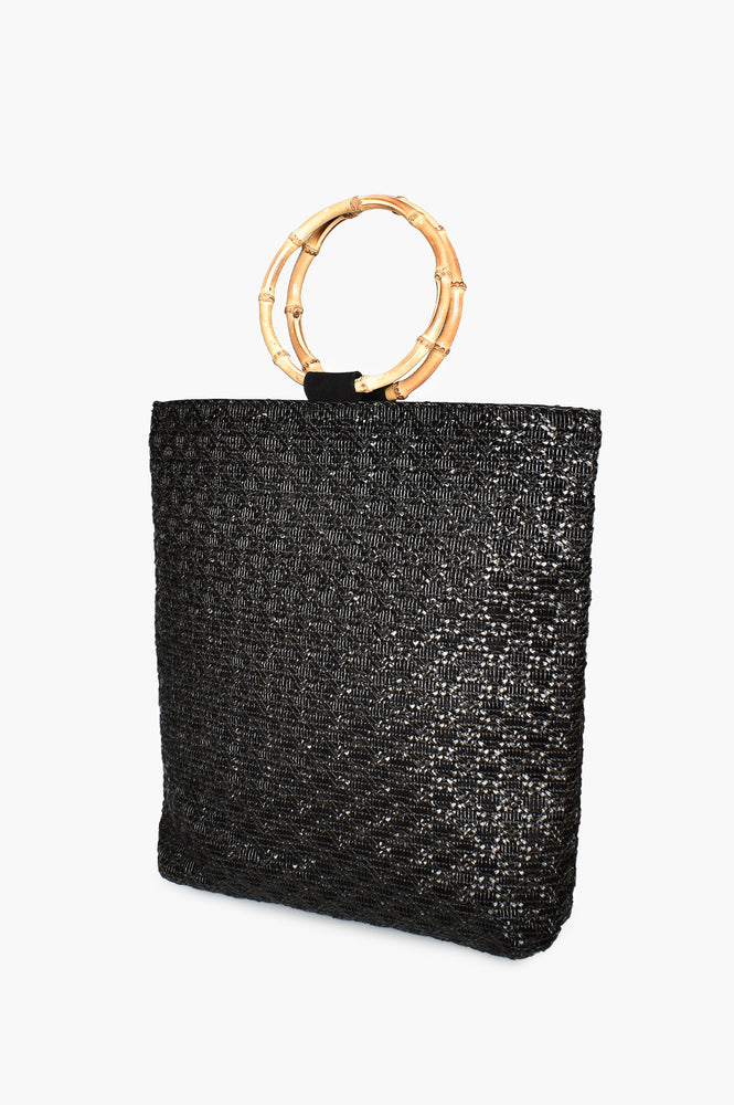 Bamboo Handle Weave Tote (Black)