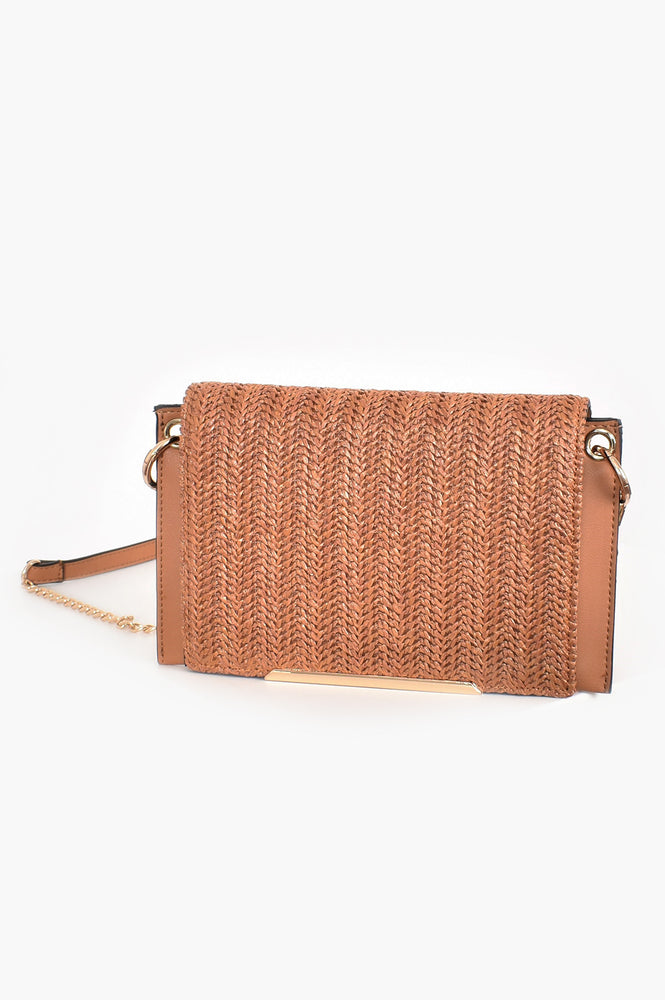 Woven Fold Over Winged Edge Small Bag (Tan)