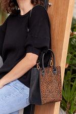 Hide Mini Structured Top Handle Bag (Leopard/Tan)
