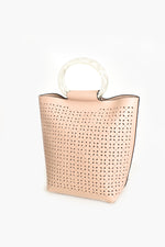 Almond Cut out Resin Handle Mini Tote (Nude)