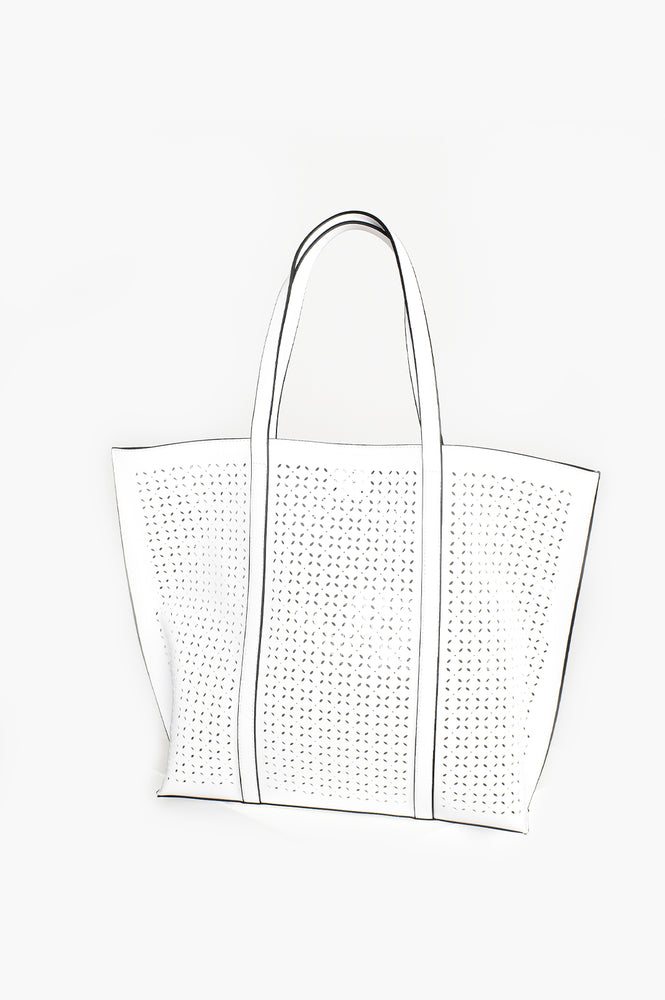 Almond Cut out Tote Bag (White)