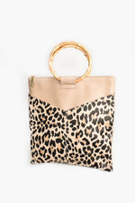 V Front Cane Handle Tote Bag (Nude/Leopard)