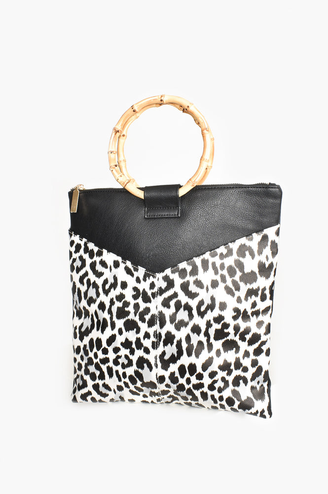 V Front Cane Handle Tote Bag (White/Leopard)