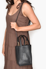 Diamond Cut Out Box Mini Tote (Tan)