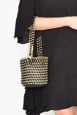 Chain Reaction Small Bucket Bag (Black/Gold)
