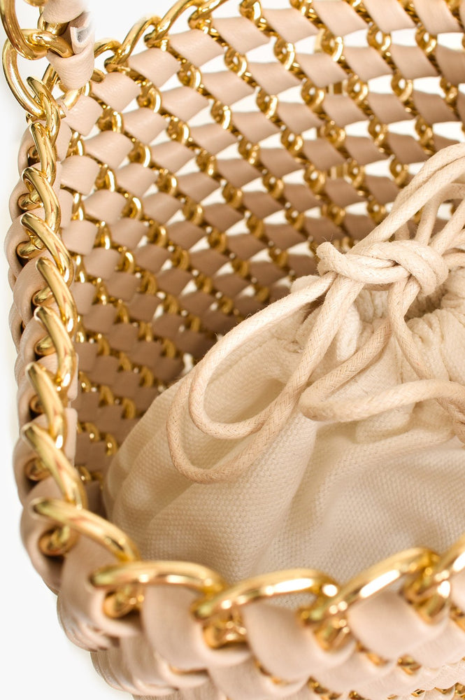 Chain Reaction Small Bucket Bag (Nude/Gold)