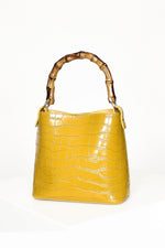 Faux Bamboo Handle Reptile Mini Bag (Mustard)