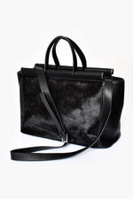Hide Panel Metal Rods Handbag (Black)