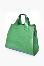 Angled Painted Edge Croc Handbag (Green)