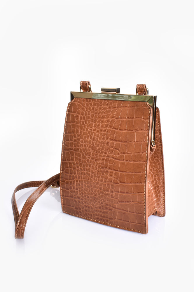 Metal Frame Croc Event Bag (Tan)