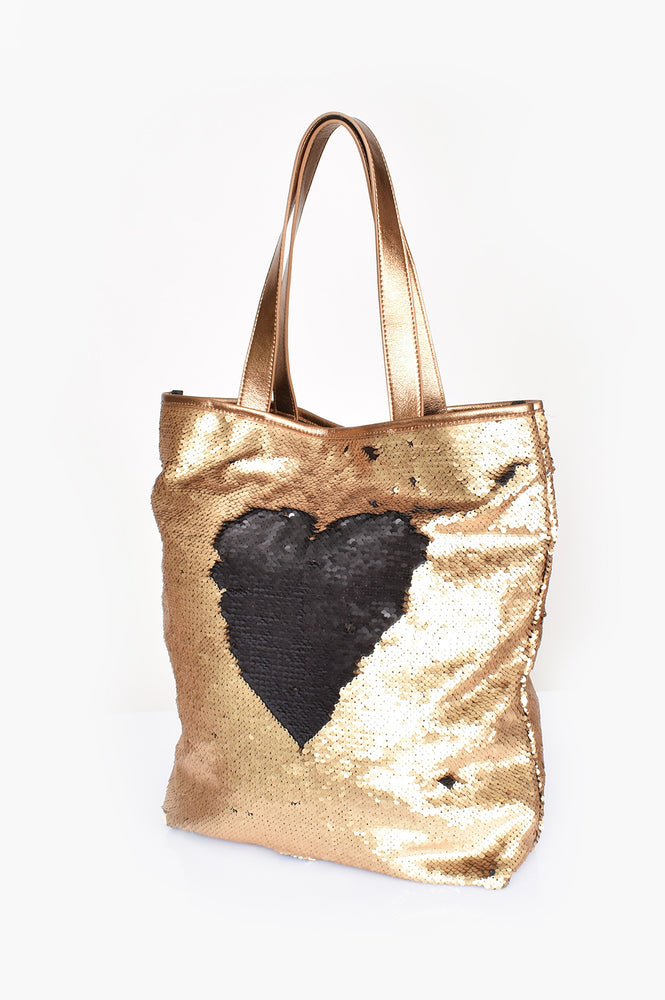 Two Tone Sequin Tote (Black/Gold)