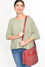 Faux Suede Buckle Curved Shoulder Bag (Camel)