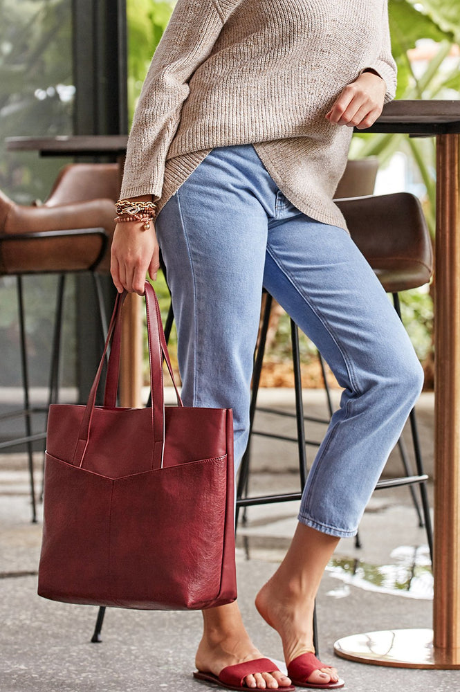Angled Pocket Front Tote (Stone)