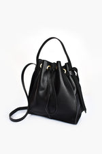 Panelled Drawstring Bucket Bag (Black)