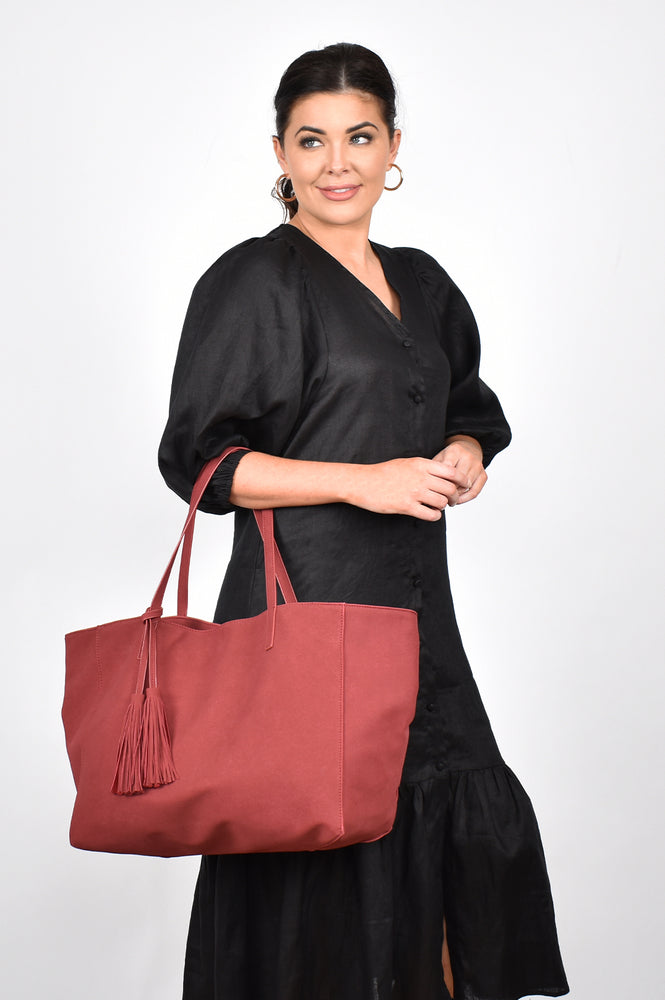 Emma Faux Suede Unstructured Tote (Berry)